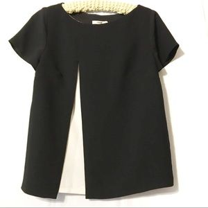 Bailey 44 black cream blouse EUC size large